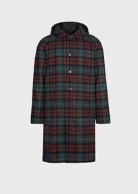 Tartan Plaid Wool Hooded Coat, thumbnail 1