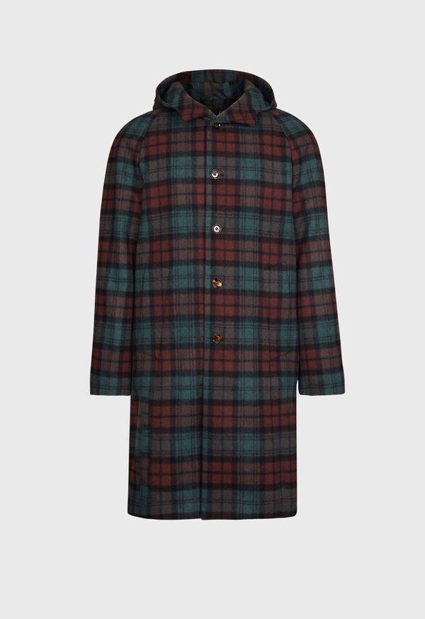 Tartan Plaid Wool Hooded Coat, image 1