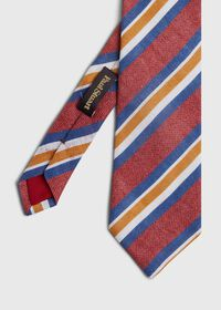 Printed Linen Stripe Tie, thumbnail 1