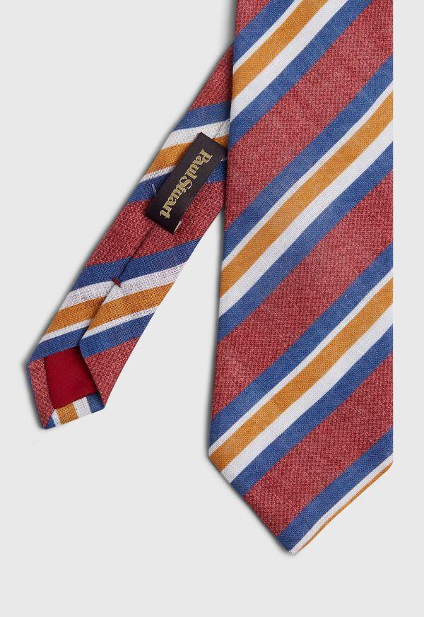 Printed Linen Stripe Tie, image 1