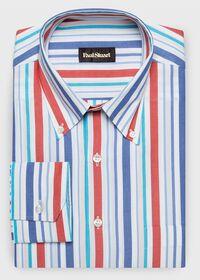 Cotton Multi Stripe Sport Shirt, thumbnail 1