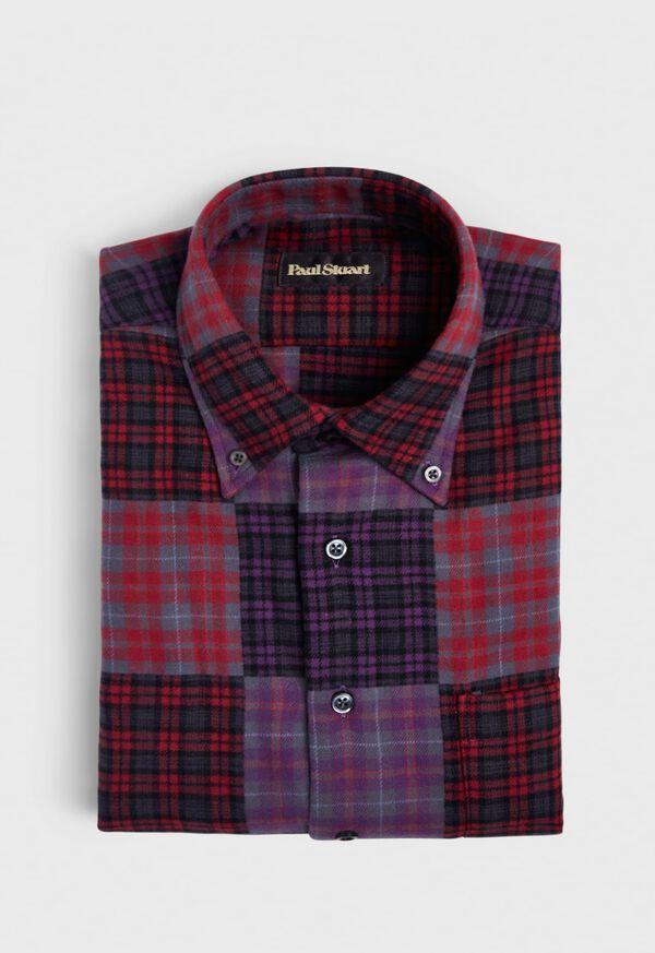 Patchwork Brushed Flannel Sport Shirt, image 1