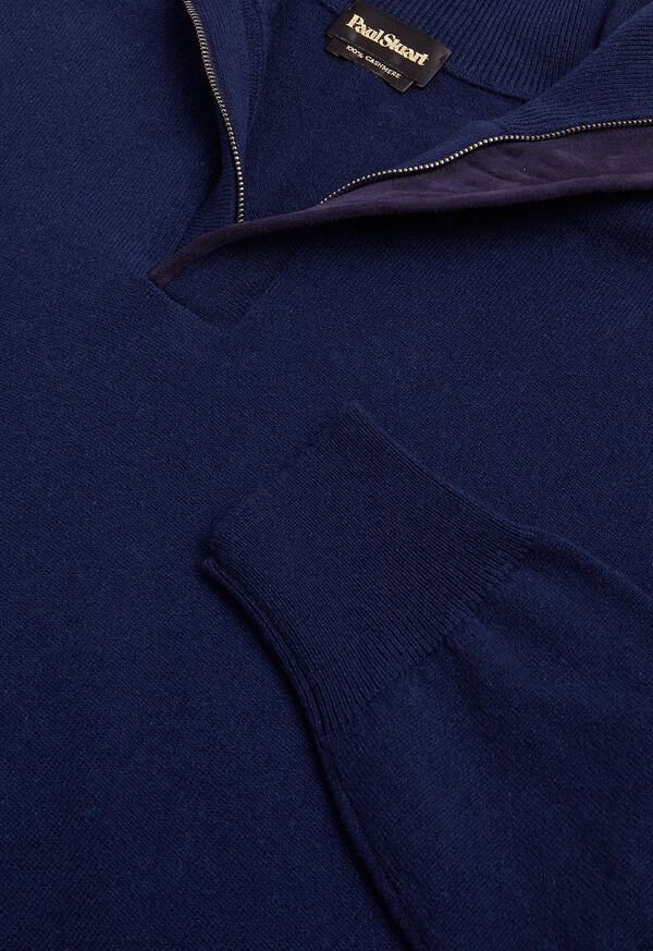 Cashmere 1/4 Zip Sweater with Suede Under Placket, image 2