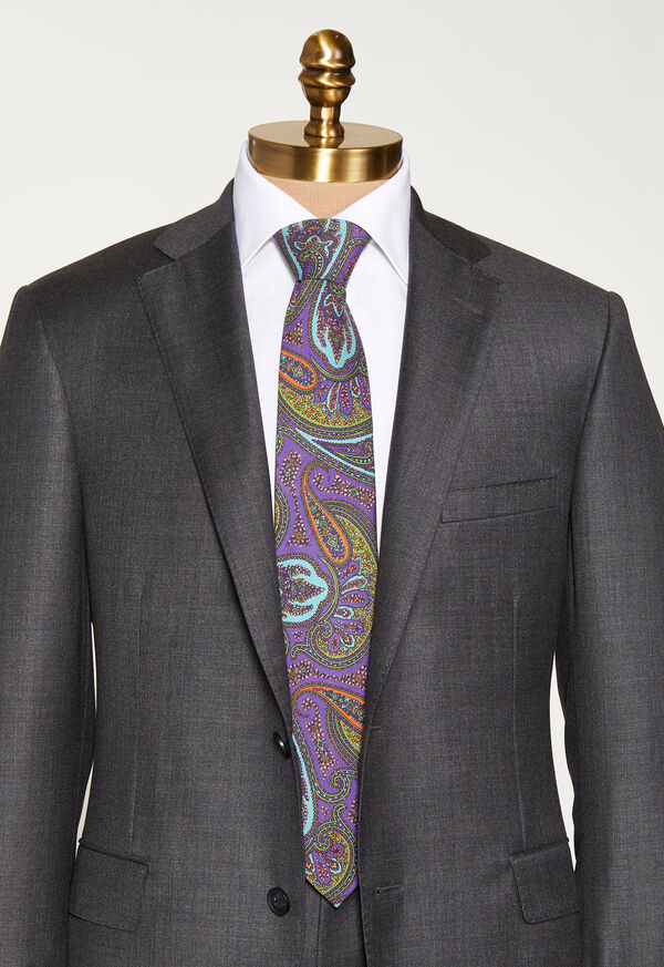 Bold Color Printed Paisley Tie, image 2