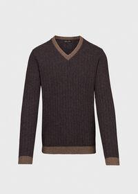 Ribbed V-Neck Sweater, thumbnail 1