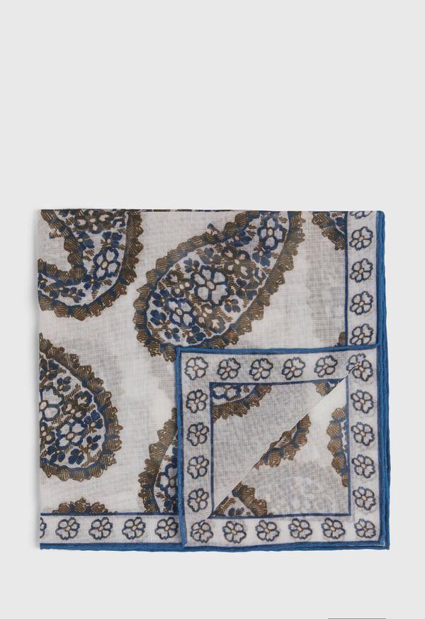 Silk Blend Large Paisley Pocket Square, image 1