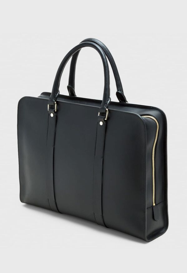 Leather Contrast Stitch Briefcase, image 1