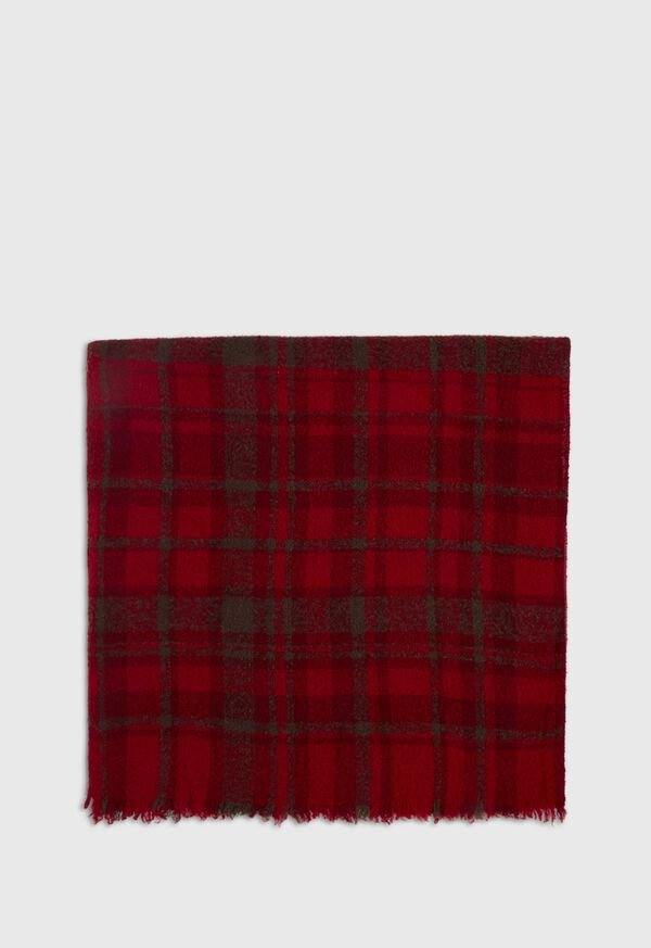 Red and Brown Boucle Plaid Scarf, image 3
