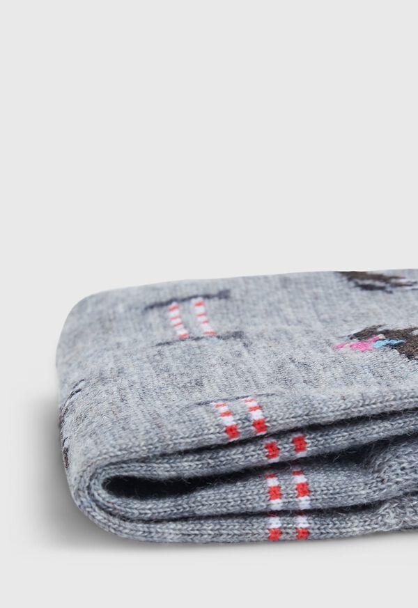 Racing Horse Motif Wool Sock, image 2