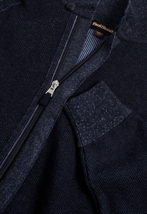 Cotton Full Zip Ribbed Cardigan, image 2