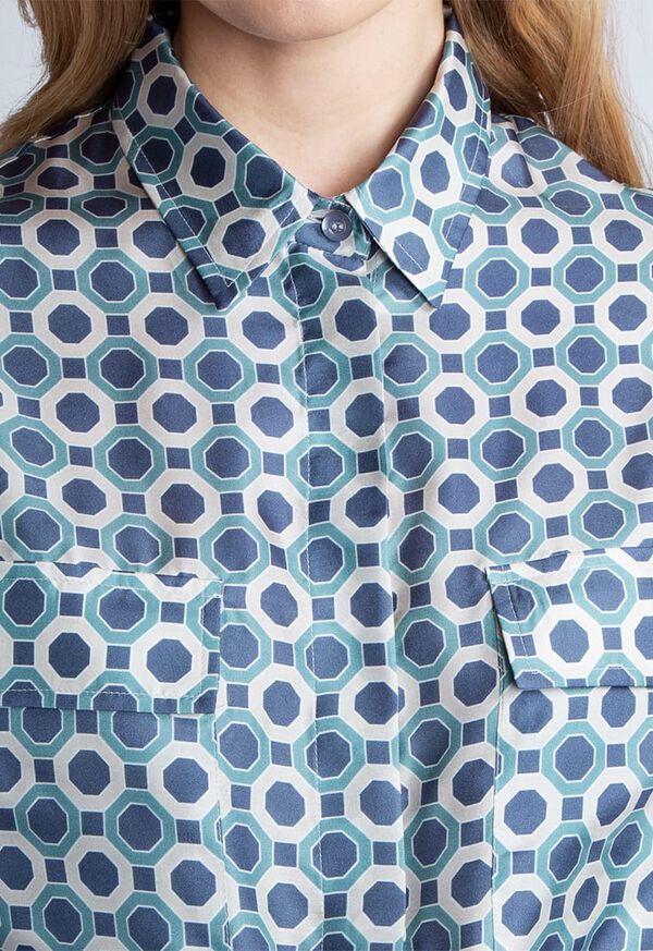 Geometric Print Silk Shirt Dress, image 2