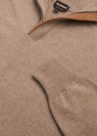 Cashmere 1/4 Zip Sweater with Suede Under Placket, thumbnail 4