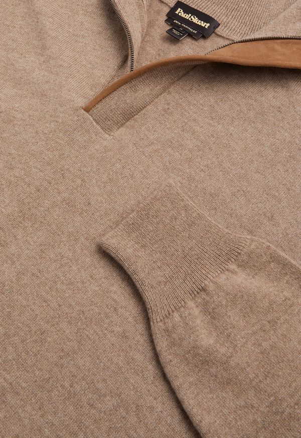 Cashmere 1/4 Zip Sweater with Suede Under Placket, image 4