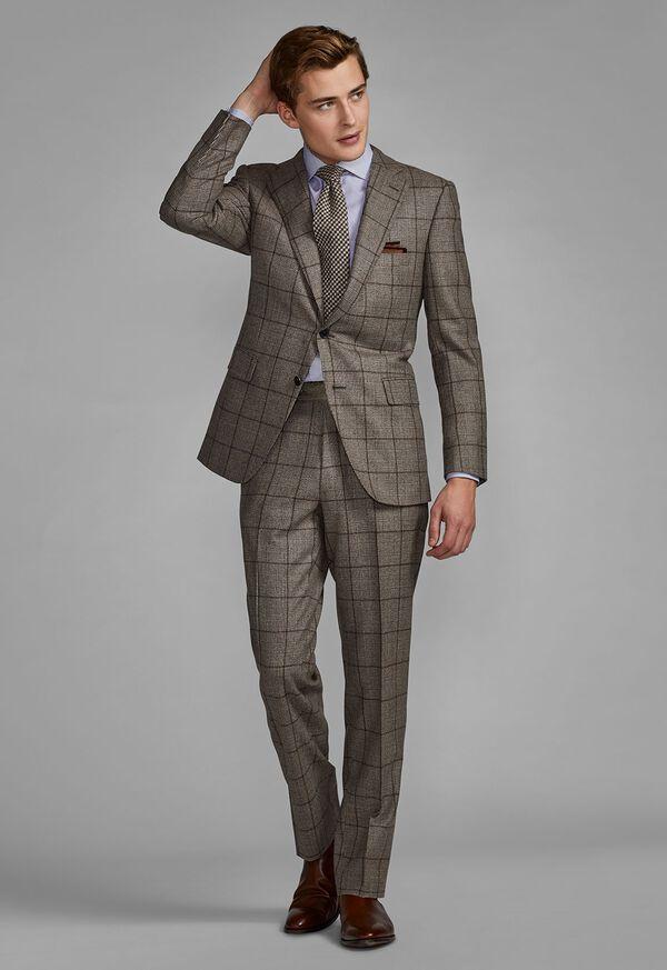 Wool Plaid Classic Shoulder Suit, image 4