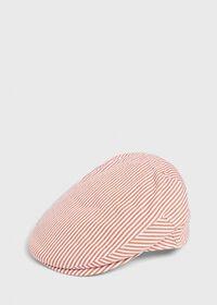 Seersucker Stripe Flat Cap, thumbnail 1