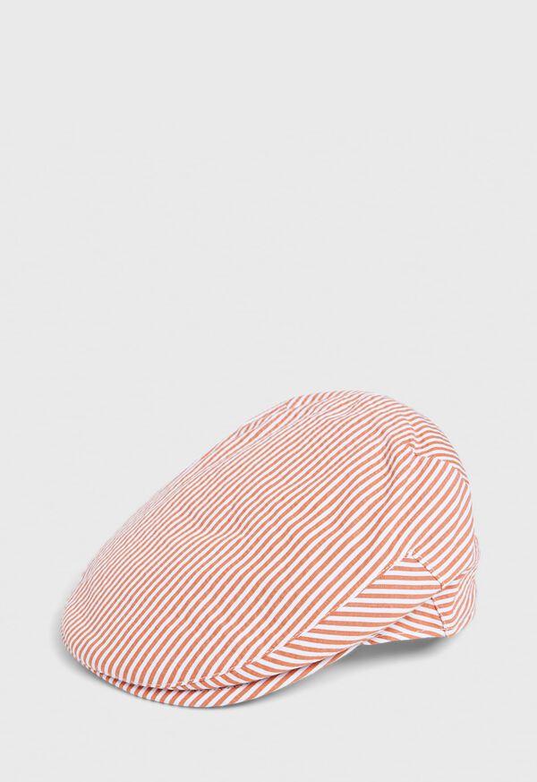 Seersucker Stripe Flat Cap, image 1