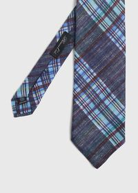 Indigo Plaid Printed Linen Tie, thumbnail 1