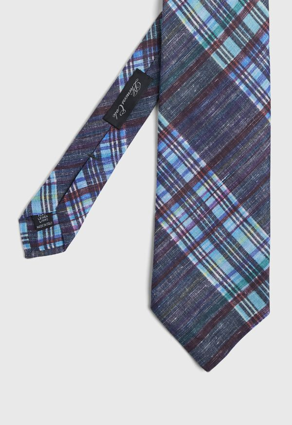 Indigo Plaid Printed Linen Tie, image 1