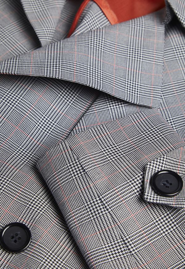 Plaid Trench Coat with Raker, image 3