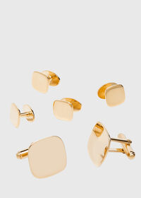14K Gold Polished Cushion Shape Cufflinks and Studs, thumbnail 1