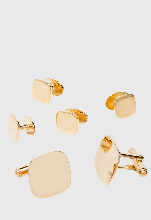 14K Gold Polished Cushion Shape Cufflinks and Studs, image 1