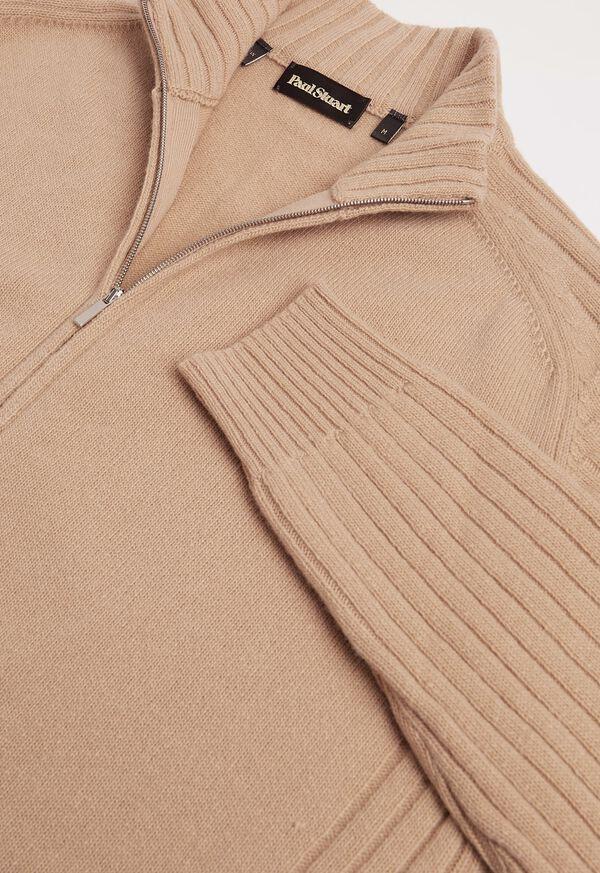 Ribbed-Knit Sleeves Zip Cardigan, image 2