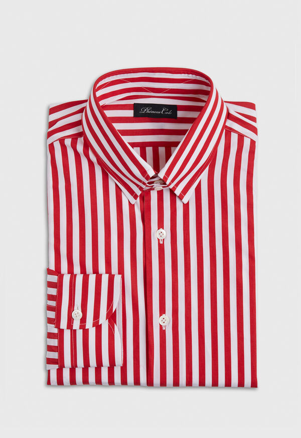 Red and White Stripe Cotton Collared Shirt