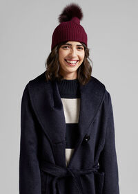 Cashmere Ribbed Hat with Fur Pom, thumbnail 2