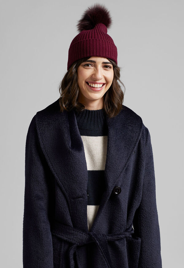 Cashmere Ribbed Hat with Fur Pom, image 2