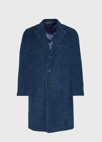 Teal Blue Long Hair Overcoat, thumbnail 1