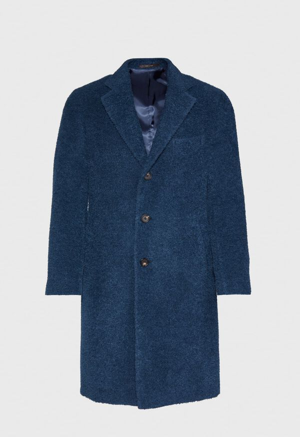 Teal Blue Long Hair Overcoat