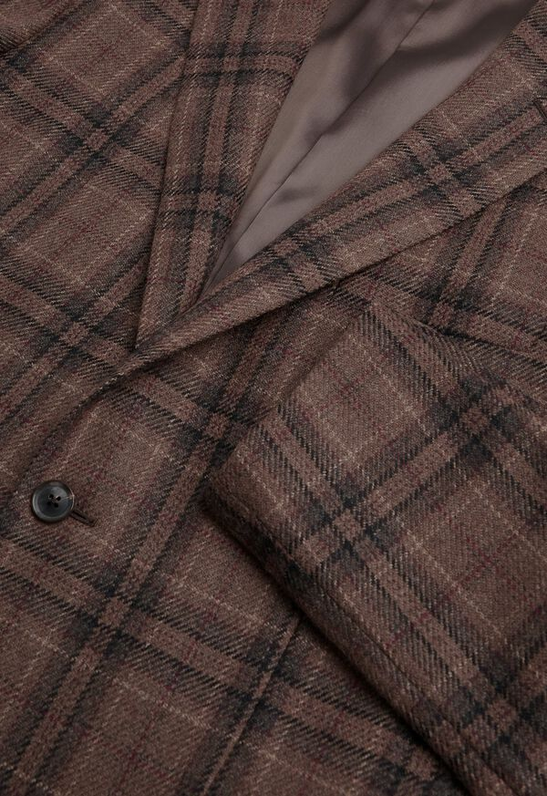 Brown Plaid Wool Sport Jacket, image 2