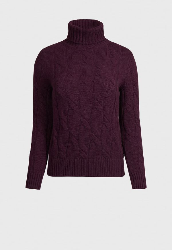 Cashmere All Over Cable Turtleneck Sweater