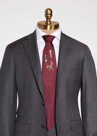 Burgundy Hunter Silk Tie, thumbnail 1