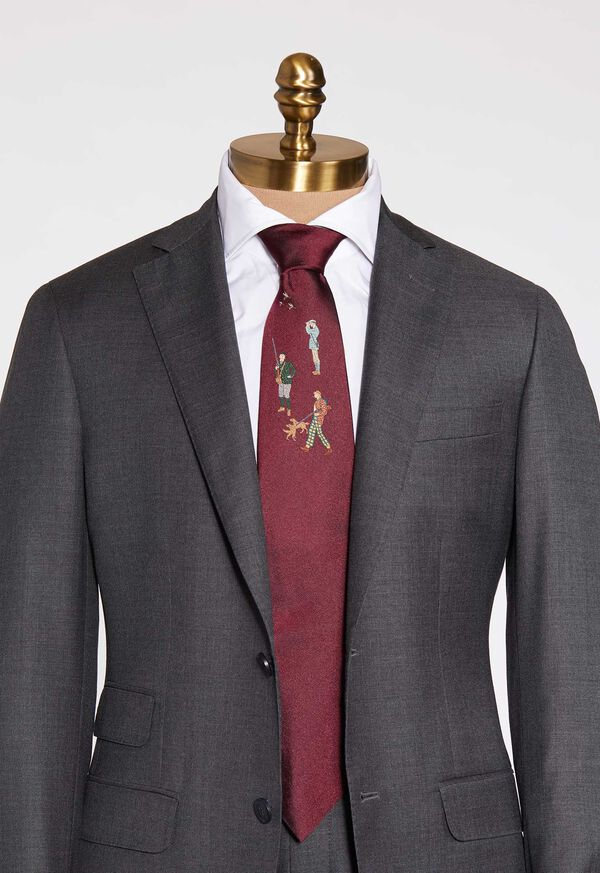 Burgundy Hunter Silk Tie, image 1
