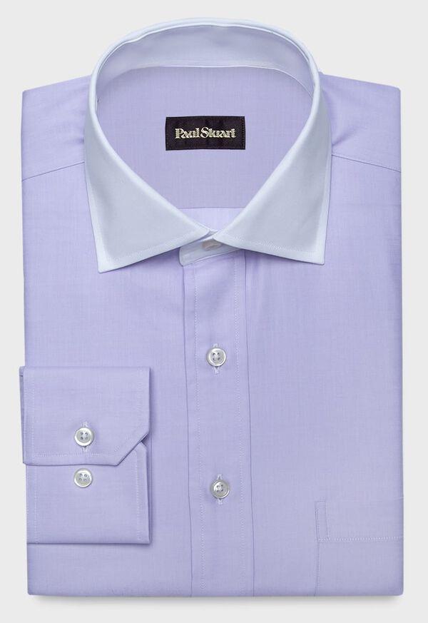 Contrast Collar Cotton Twill Dress Shirt, image 1