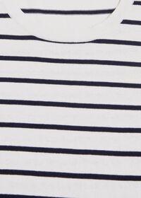 Striped Short Sleeve Open Bottom Knit Top, thumbnail 2