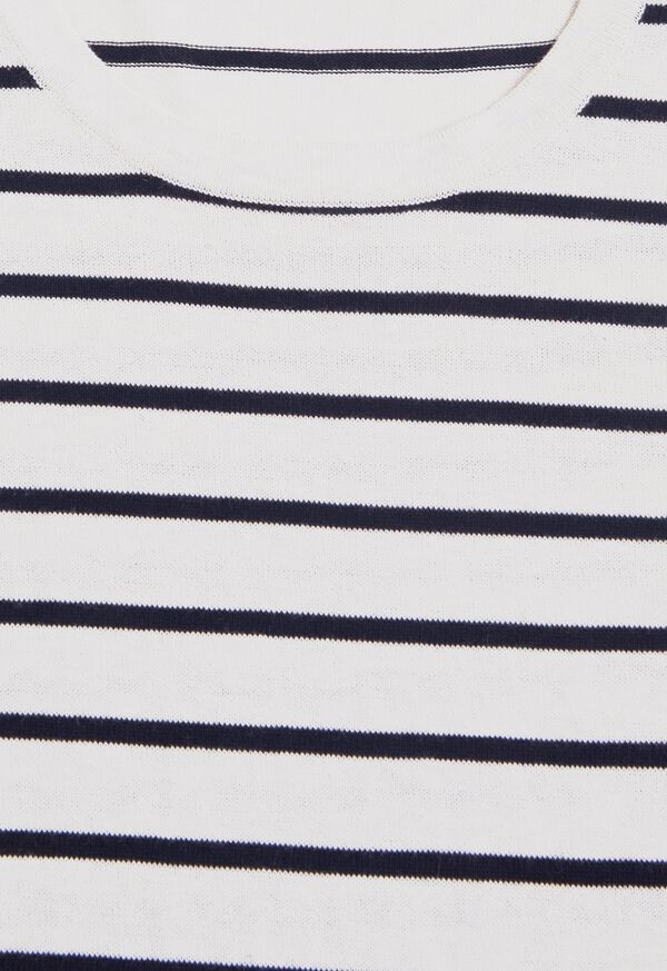 Striped Short Sleeve Open Bottom Knit Top, image 2