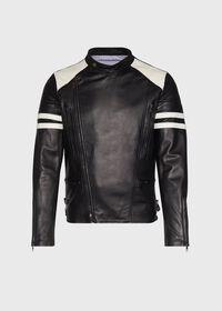 Black Leather Motorcycle Jacket, thumbnail 1