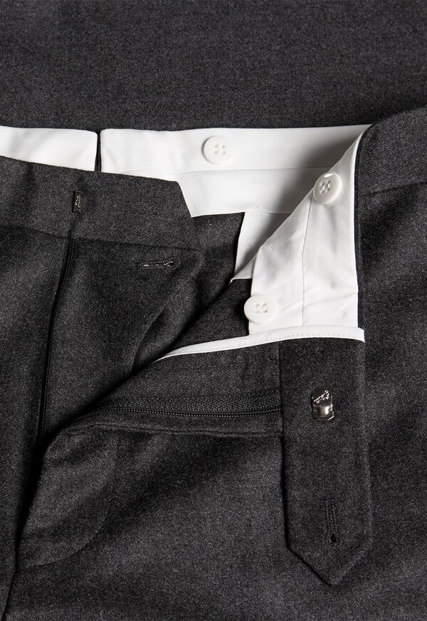 Flannel Wool Blend Charcoal Trouser, image 2