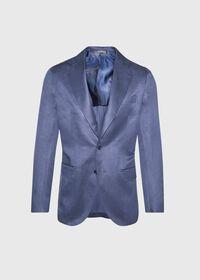 Navy solid Silk Blend Suit, thumbnail 3