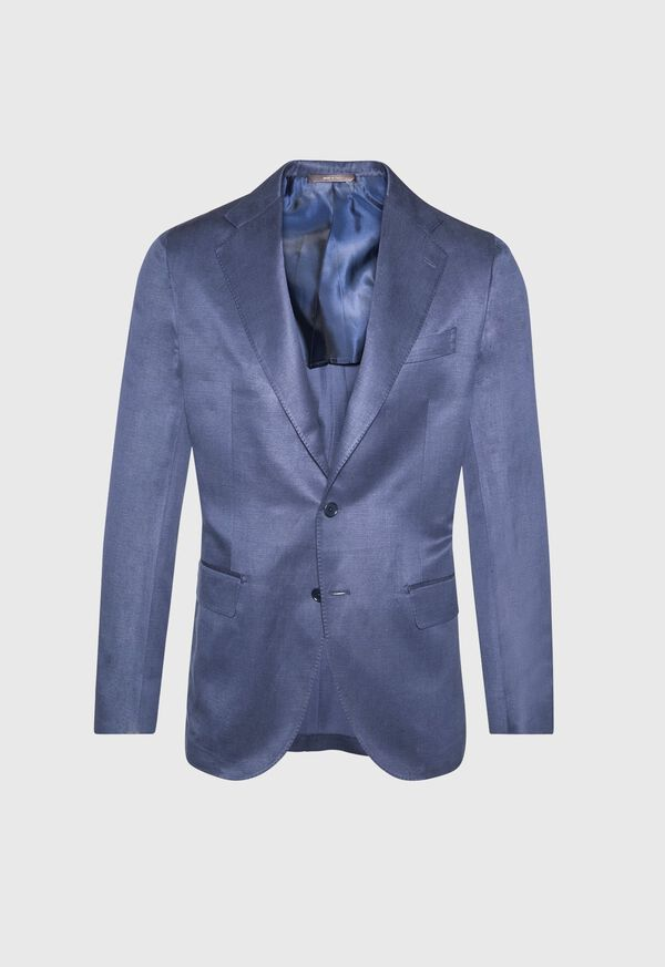 Navy solid Silk Blend Suit, image 3