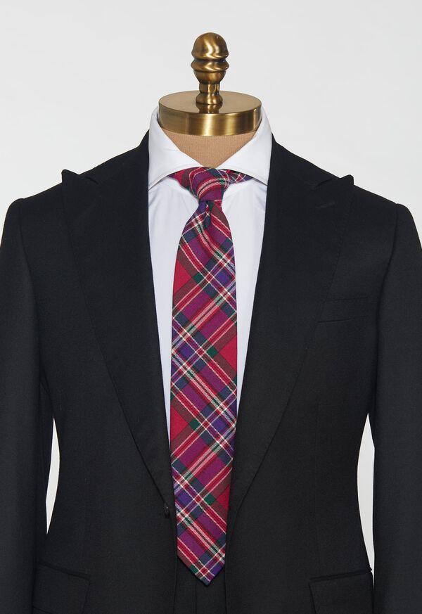 Purple Tartan Wool Tie, image 2