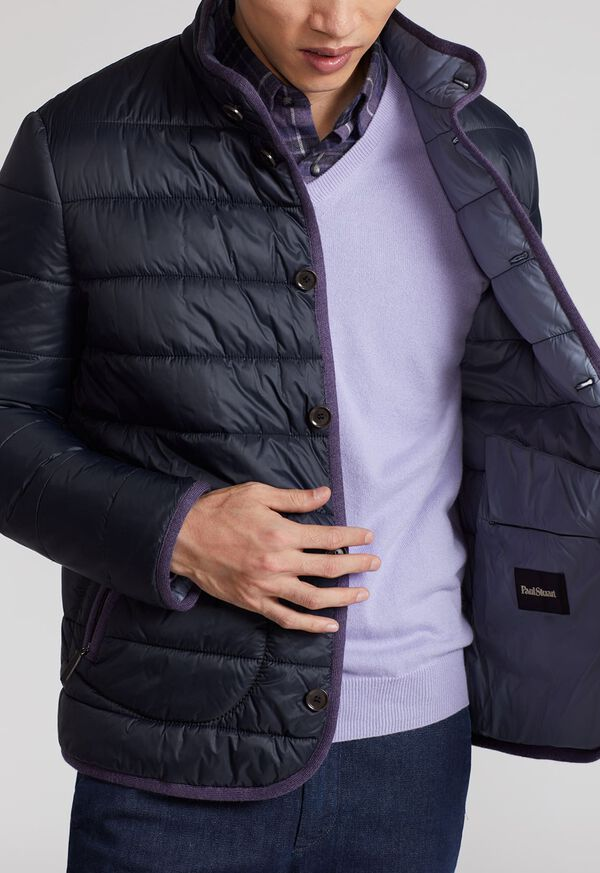 Nylon Quilted Coat With Contrast Piping, image 5