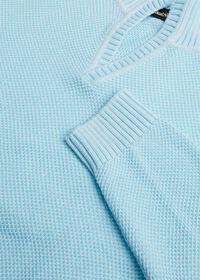 Cotton Open Collar Birdseye Stitch Sweater, thumbnail 5