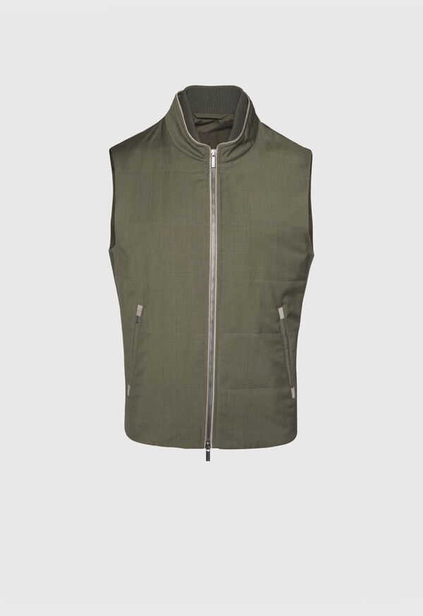 Performance Wool Vest With Suede Trim, image 1