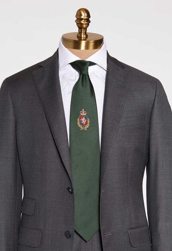 Crest Motif Silk Tie, image 1