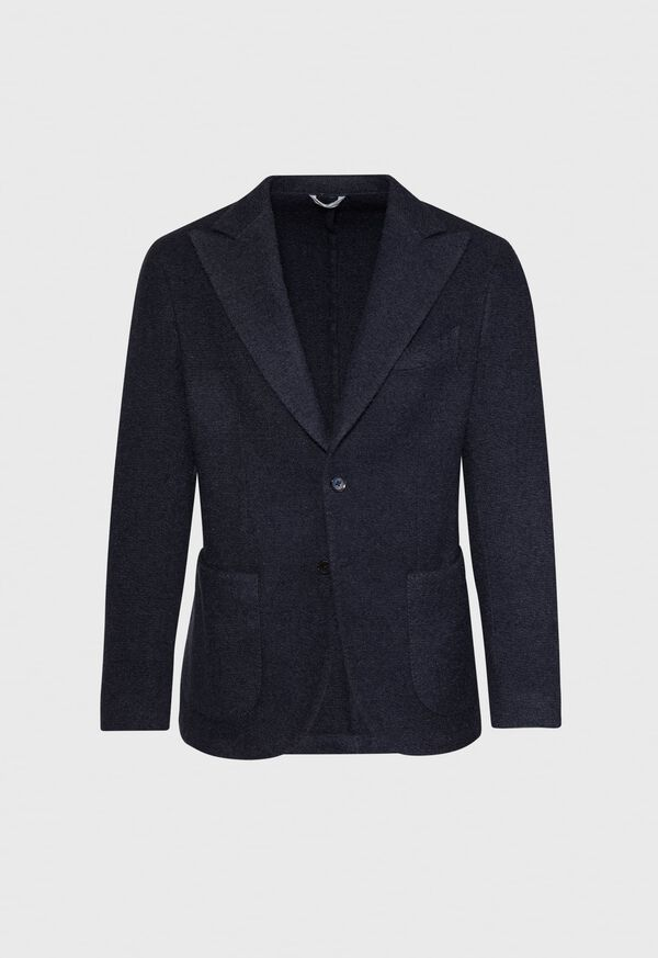 Solid Navy Fuzzy Soft Jacket, image 1
