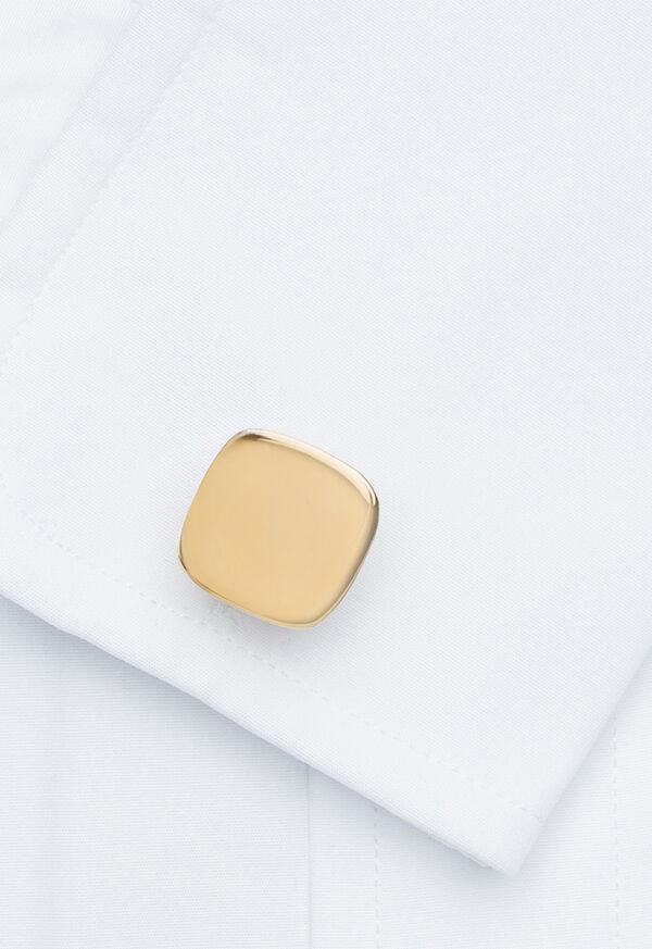 14K Gold Polished Cushion Shape Cufflinks and Studs, image 2
