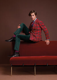 Wool Red Tartan Double Breasted Jacket, thumbnail 2